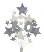 Number age 60th birthday cake topper decoration in silver and white - free postage